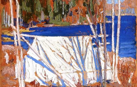 oil painting of white tent slung between silver birch trees at the edge of a wooded shoreline of bright blue water