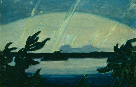 Oil painting of lake, flanked by dark pine trees, with aurora borealis lighting the sky.