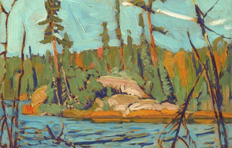 Oil painting of a forest with lake in foreground. Some dead trees in water.