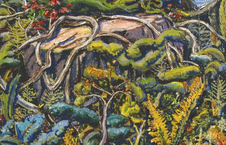 Oil painting of a forest floor with tangled roots, leaves and flowers over and around a tree stump.