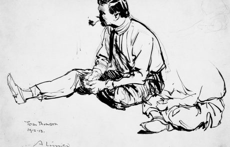Black ink drawing of man sitting on ground with one foot outstretched, smoking a pipe.