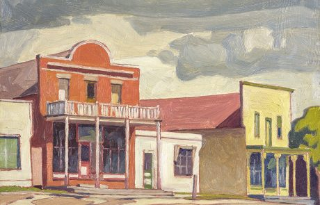 oil painting of buildings in a streetscape