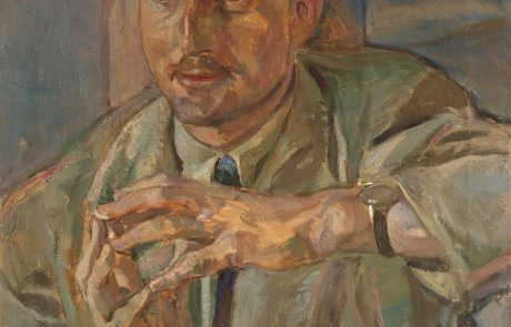 Oil painting in mostly pastel colours of a man with a moustache wearing a jacket and tie. He is holding his hands in front of him with the tips of his fingers touching the opposite hand. He is wearing a watch on his left wrist.