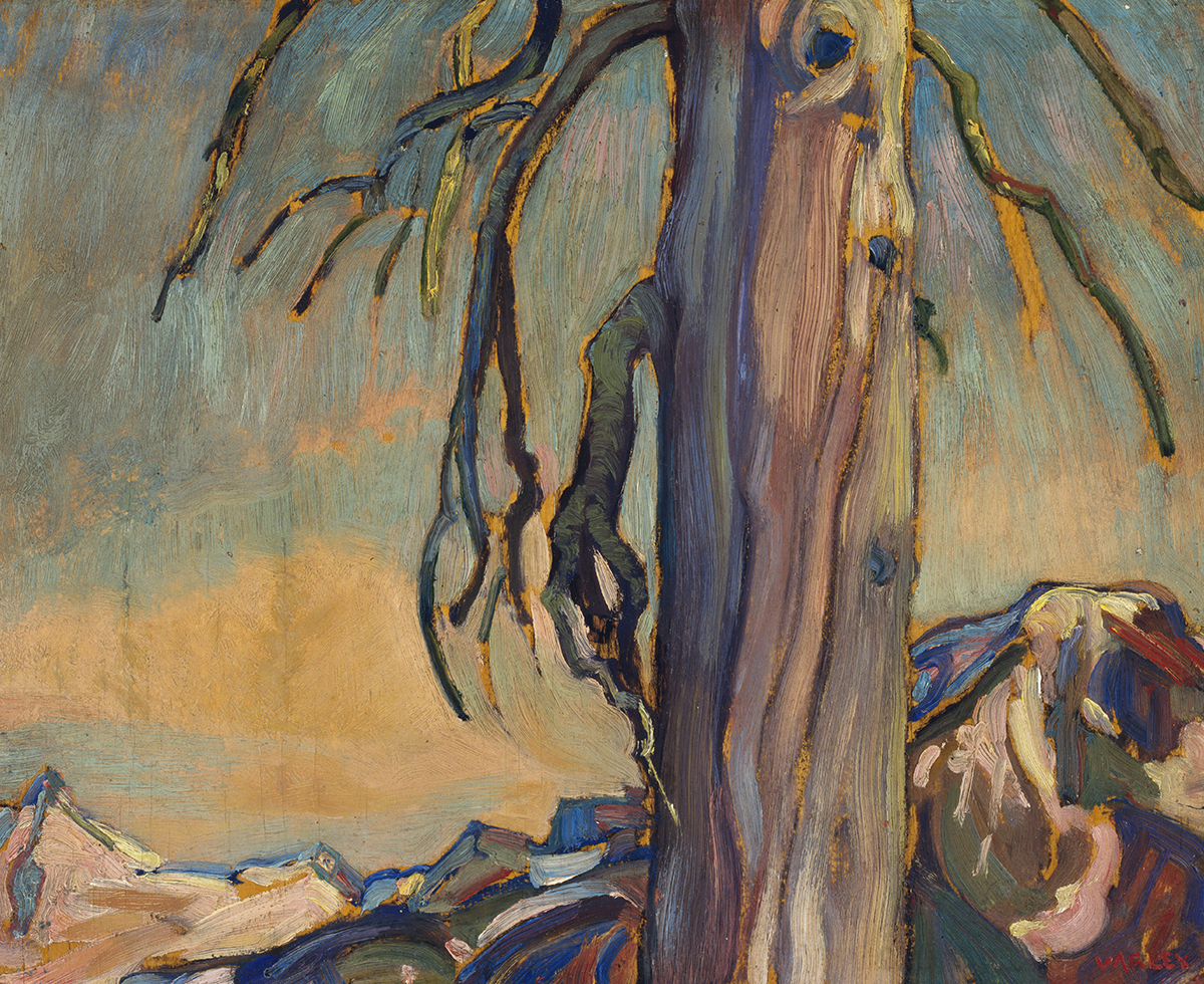 Oil painting of dead tree with mountainous landscape and sky behind. Mainly blue tones.