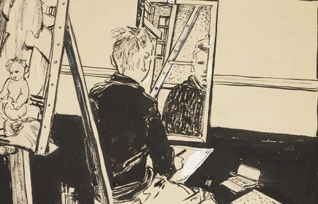 Black and white drawing of a boy sitting in front of of mirror observing his reflection. He is drawing himself. He is in an artist's studio with pictures on the wall and on an easel on the left and a palette on the floor.