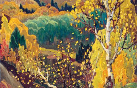 oil painting of wooded hilly landscape in predominant shades of yellow
