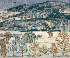 David Milne (1882-1953), Blue Church c. 1920, oil on canvas adhered to hardboard, 46 x 56.2 cm, Gift of the Founders, Robert and Signe McMichael, McMichael Canadian Art Collection, 1966.16.22
