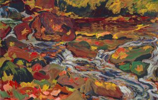 oil painting of a stream with autumn leaves in the water and on the banks and rocks
