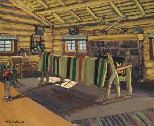 oil painting of interior of log house with striped blanket hanging in front of open fire