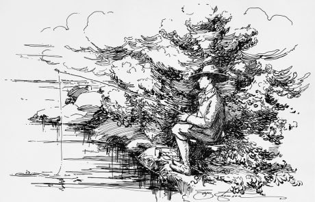 Black and white drawing of man sitting on shoreline fishing.