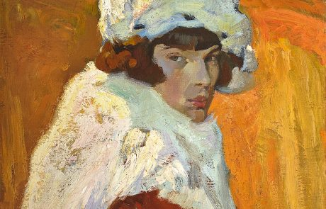 Oil painting of a female with brown hair wearing a white fur hat and matching cape over a red dress against a yellow background.
