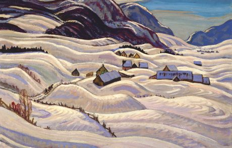 oil painting of snowy landscape with mountains in background and buildings in centre