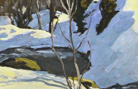 oil painting of winter landscape with pool in centre