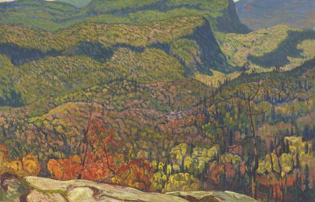 Oil painting of expansive view of a forest from a high vantage point. Rocky foreground. Some trees have red and orange leaves.