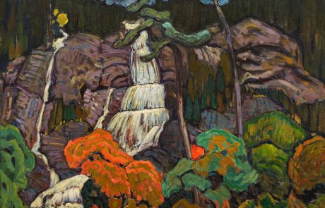 oil painting of waterfall and rocks with trees in foreground in shades of orange and green