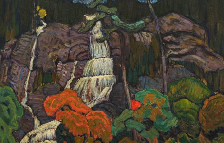 Oil painting of waterfall in rocky landscape with trees in foreground in autumn colours.