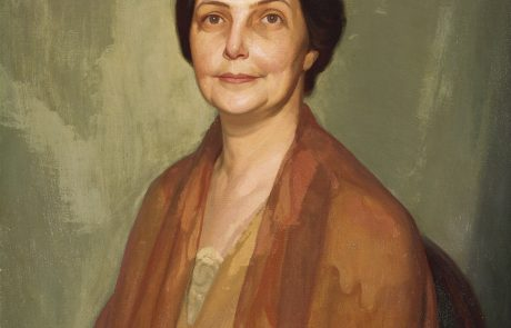 oil painting of a woman with short dark hair and wearing light brown clothing
