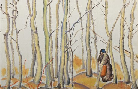 oil painting of trees with two people on the right in an embrace