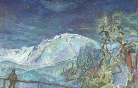 Oil painting of a night-time winter scene with snow-covered mountains in background under a starry sky. Figure at front left standing behind a fence looking out over snowy scene. Snow-covered trees on right.