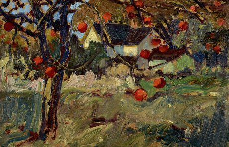 Oil painting of apple trees with red fruit on branches. Building in centre behind trees.