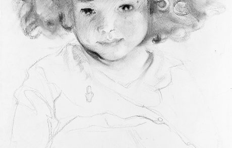 Black and white drawing of a child with curly hair.