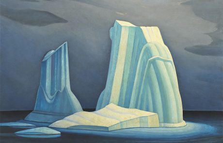 oil painting of icebergs and floating ice in shades of blue and white