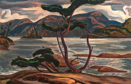 Oil painting of a landscape with pine trees in centre on rock, lake and mountains behind
