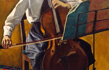 oil painting of a woman playing a cello with music stand on right