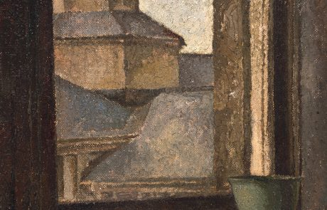 oil painting of roofs of seen through an open window with ceramic bowl on interior windowsill