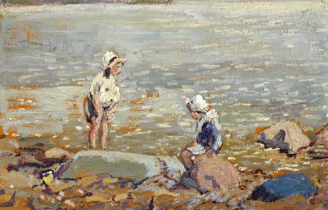 Oil painting of children wearing white hats on a beach. One on right sitting on a rock. Other on left wading in water.