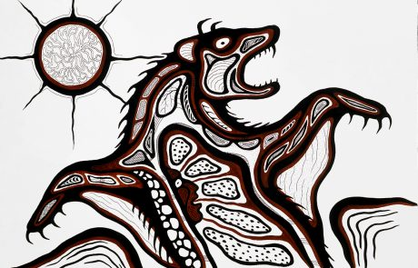 Black and brown abstract image of an animal with fangs and claws. Image is made up of shapes outlined in black. The face of a man is within the body of the creature. A round shape with spokes coming out of the perimeter is above the left shoulder of the creature.