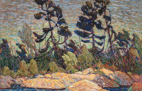 Oil painting in an impressionistic style of trees on a rocky shoreline.