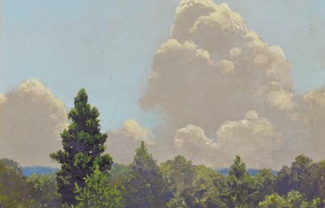 Oil painting of green trees with towering grey clouds in a blue sky.