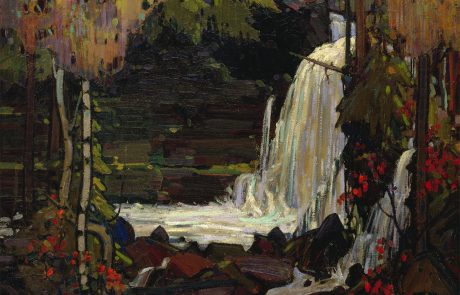 Oil painting of a waterfall cascading over rocks in a woodland.