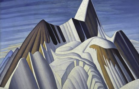 oil painting of a mountain with snowy slopes and exposed rock surfaces