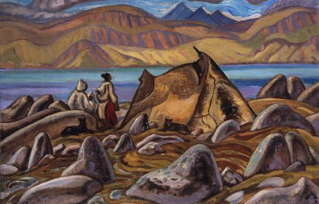 Oil painting of two figures and two black dogs by a tent in a rocky landscape with lake and mountains in the distance