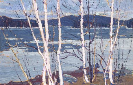 oil painting of leafless silver birch trees with an icy lake in the background