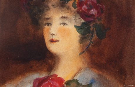Watercolour painting of a woman with red roses and leaves in her hair and below her neck.