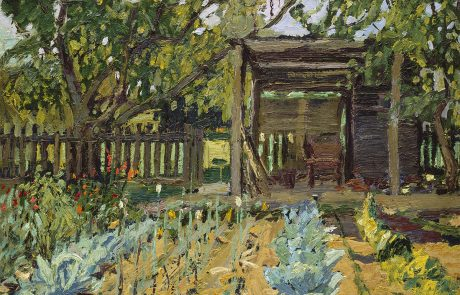 Oil painting of a garden planted with rows of plants. Wooden structure and fence behind the garden flanked by trees.