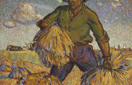 oil painting of man gathering sheaves of grain