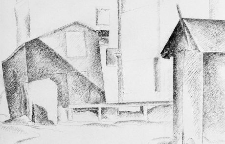 black and white drawing of buildings