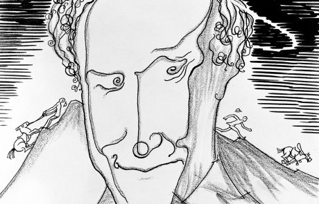 Black and white drawing of the head of a man, with a halo, emerging from mountainous landscape. Tiny people and horses on mountain side on either side of his head.