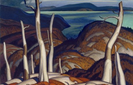 oil painting of dead trees on rocks with body of water in middleground and hills in background