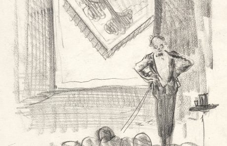 Pencil drawing of man on a stage wearing a tuxedo.