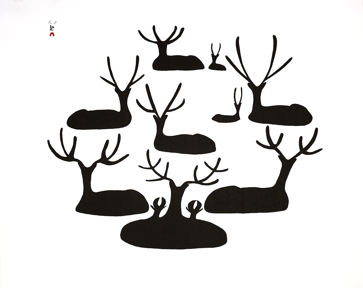 Black silhouettes of nine caribou in a circular arrangement on white paper.
