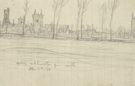 Pencil sketch of buildings and trees