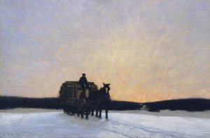 oil painting of horses pulling a loaded wagon in winter landscape