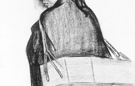 black and white drawing of rear view of a woman. She has long dark braided hair and a box on her back hanging from her shoulders