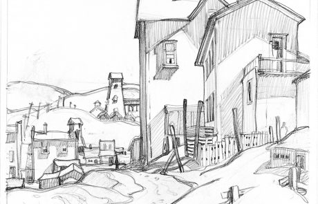 black and white drawing of buildings in a hilly landscape