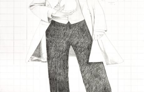 Pencil drawing of a man wearing Victorian-style clothing (including frock coat, cravat) with emphasized shoes. He is holding an orb in one hand close to his chest. Above his left shoulder is a telescope in a circle and above his right shoulder a rectangular map.